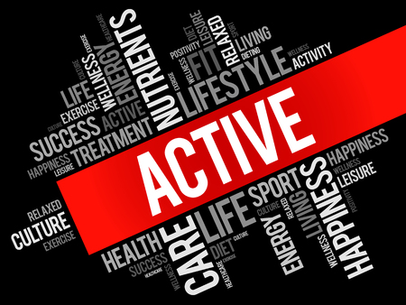 ACTIVE word cloud, fitness, sport, health concept illustration.