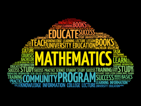 Mathematics word cloud collage, education concept background. Illustration
