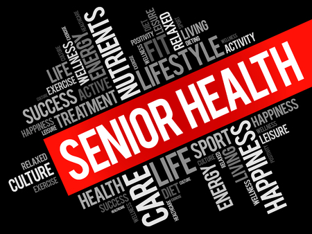 Senior health word cloud background, health concept.