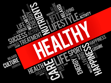 HEALTHY word cloud collage, health concept background Vettoriali
