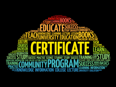CERTIFICATE word cloud collage, education business concept background Illustration