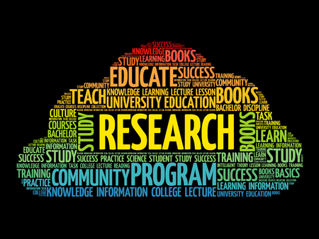 Research word cloud collage, education concept background.
