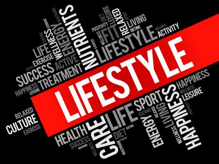 Collage de nuage de mot style de vie, fond de concept de santé. Vecteurs