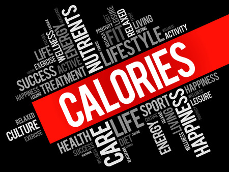 Calories word cloud background, health concept, typography Illustration. Illustration