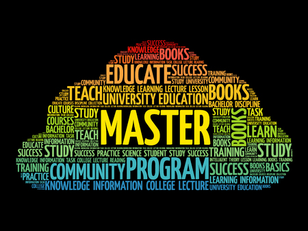 Master word cloud collage, education concept background