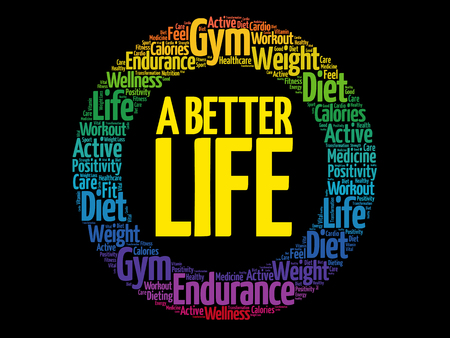 A Better Life circle stamp word cloud, health concept