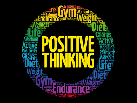 Positive thinking circle word cloud, health concept