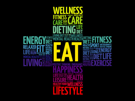 EAT word cloud collage, health cross concept