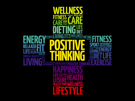 Positive thinking word cloud, health cross concept