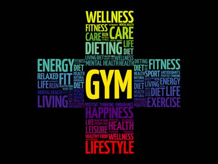 Gym cross word cloud collage Иллюстрация