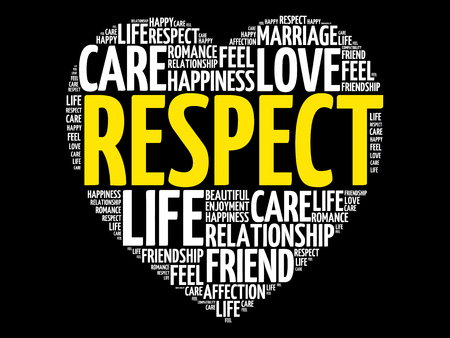 Respect word cloud collage