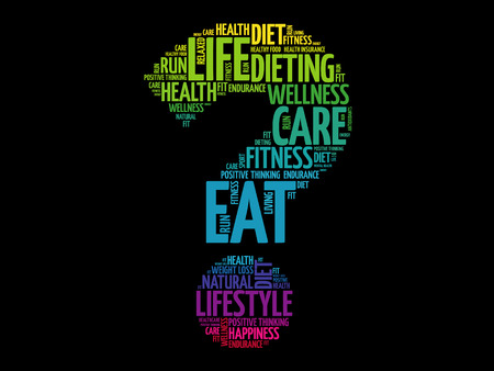 Question mark word cloud, fitness, sport, health concept.