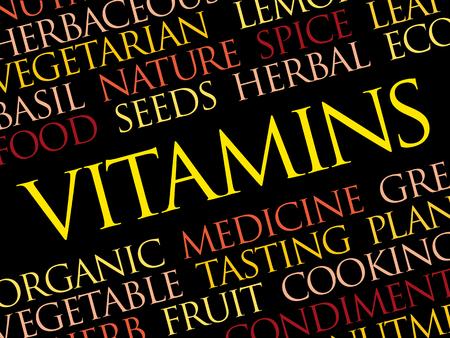 Vitamins word cloud, health concept illustration.