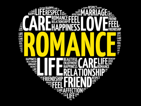 Romance word cloud collage, heart concept background.