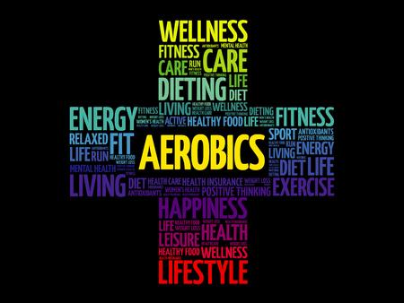 Aerobics word cloud, health cross concept illustration. Stock Illustratie