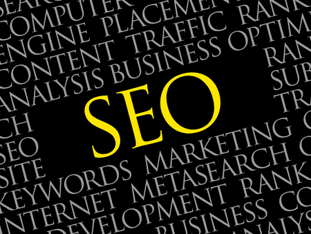 SEO (search engine optimization) word cloud collage, technology business concept background.