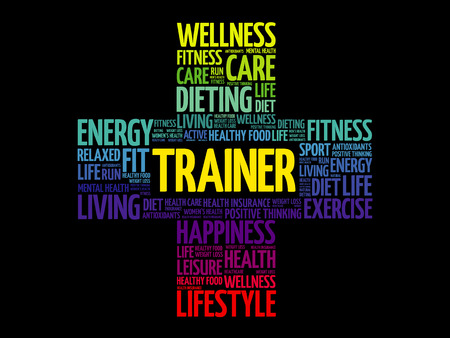 Trainer word cloud, health cross concept illustration.