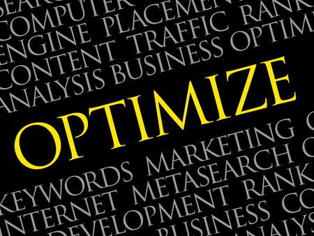 Optimizar nube de palabras, concepto de negocio Ilustración de vector