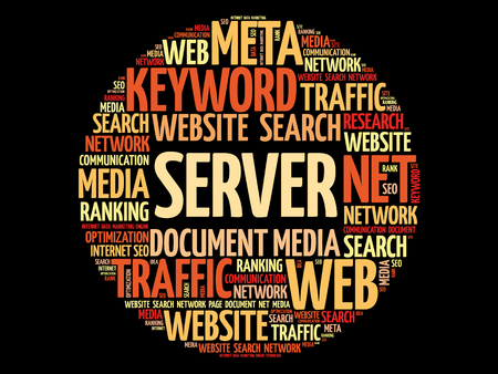 Server word cloud collage, technology business concept background