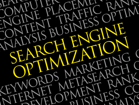 Search engine optimization word cloud collage, technology business concept background. Illustration