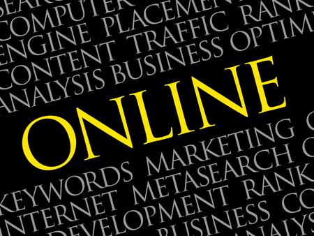 Online word cloud, business concept.