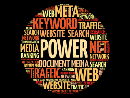 Power word cloud collage, business concept background.