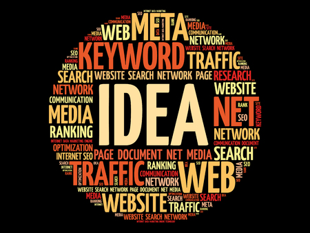Idea word cloud collage, business concept background. Illustration