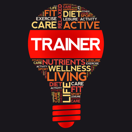 Trainer bulb word cloud collage, health concept background  イラスト・ベクター素材