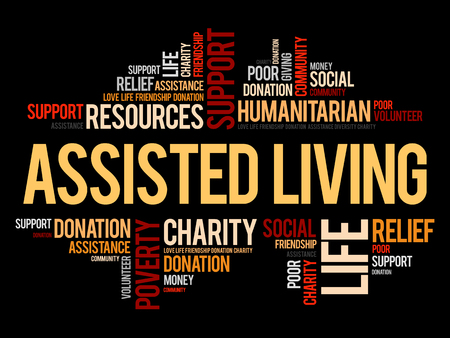 Assisted Living word cloud collage illustration