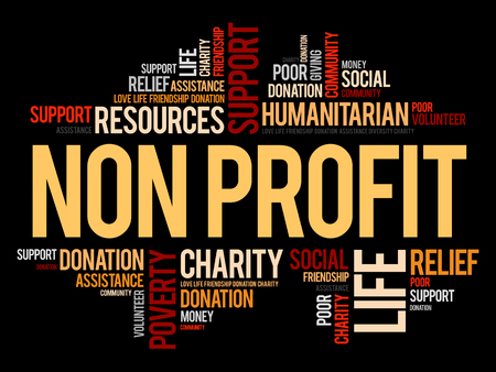 Non Profit word cloud collage illustration Vectores