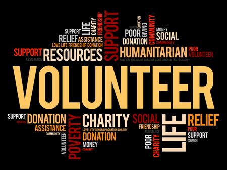 Volunteer word cloud collage illustration