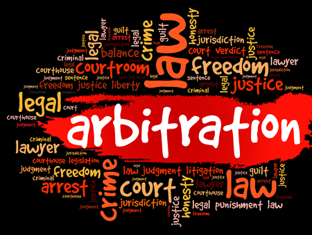 Arbitration word cloud collage, concept background