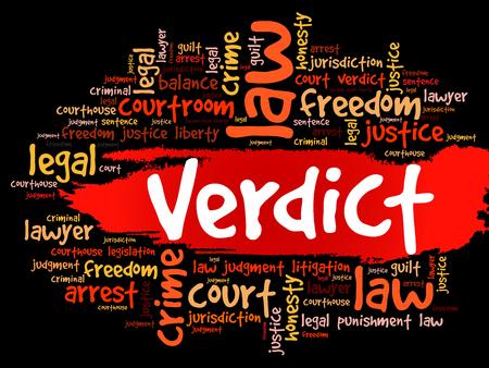 Verdict word cloud collage, law concept background Illustration