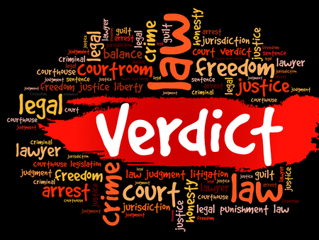 Verdict word cloud collage, law concept background Ilustrace