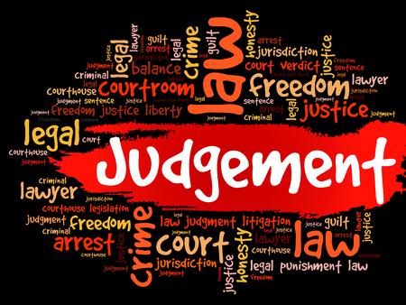 Judgement word cloud collage, concept background