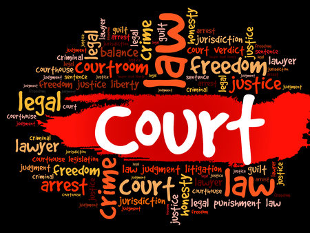 Court word cloud collage, law concept background
