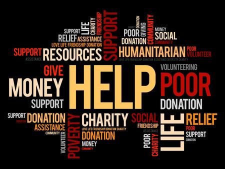 Ayuda palabra nube collage, concepto social de fondo