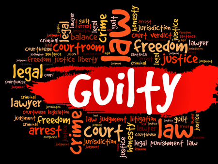 Guilty word cloud, background concept. Illustration