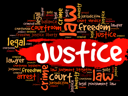 Justice word cloud collage, concept background Illustration