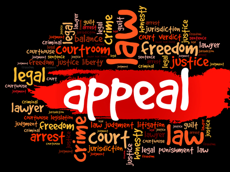 Appeal word cloud collage, law concept background Vektorové ilustrace