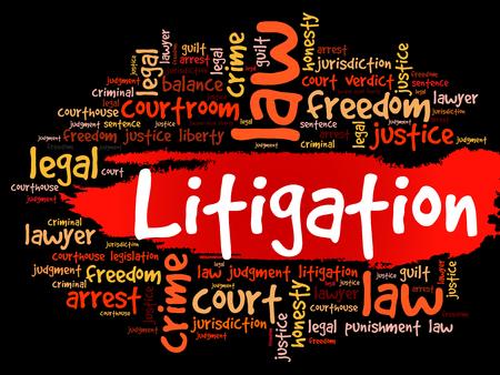 Litigation word cloud collage, law concept background