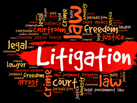 Litigation word cloud collage, law concept background