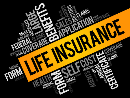 LIFE Insurance word cloud collage, healthcare concept background  Ilustrace
