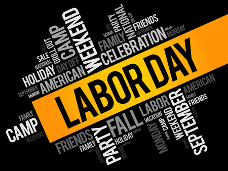 Labor Day word cloud collage, holiday concept background Illustration