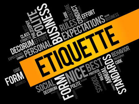 Etiquette word cloud collage, social business concept on blackboard