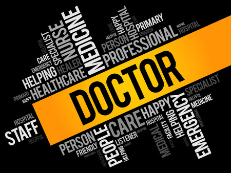 Doctor word cloud collage, healthcare concept background