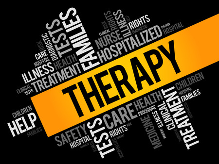 Therapy word cloud collage, health concept background 일러스트