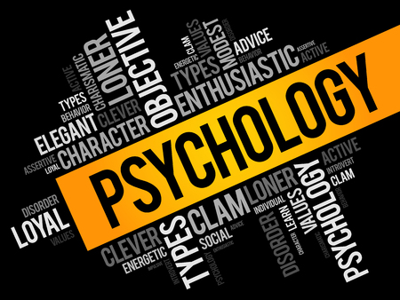 Psychology word cloud collage, social health concept background