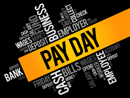 Pay Day word cloud collage, business concept background Иллюстрация