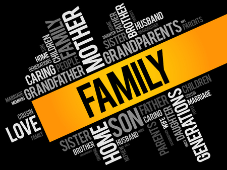 Family word cloud collage , social concept background Vectores